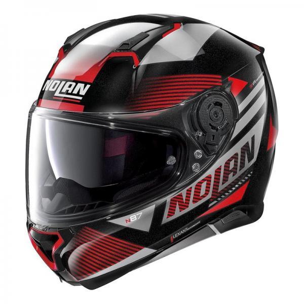 Casque Nolan N87 JOLT N-COM METAL - Noir / Rouge