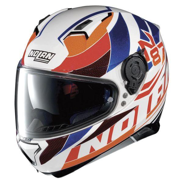 Casque Nolan N87 PLEIN AIR N-COM - Blanc / Orange