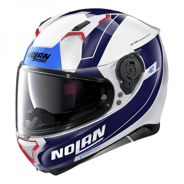 Casque Nolan N87 SKILLED N-COM - Blanc / Bleu