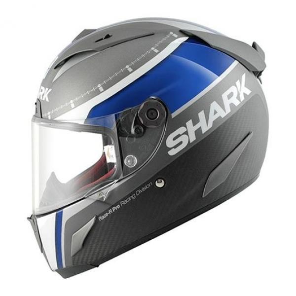 Casque Shark RACE-R PRO CARBON DUAL TOUCH - Gris / Bleu / Blanc