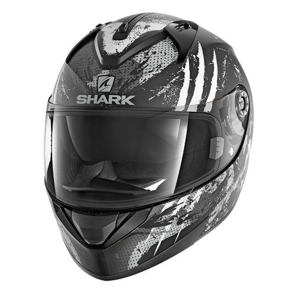 Casque Shark RIDILL THREEZY MAT - Noir / Blanc / Gris